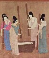 women preparing silk after zhang xuan 1100 old China ink